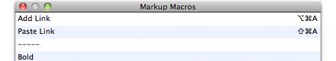 Markup macros
