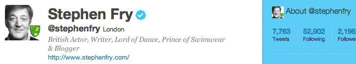 Stephen Fry Twitter account