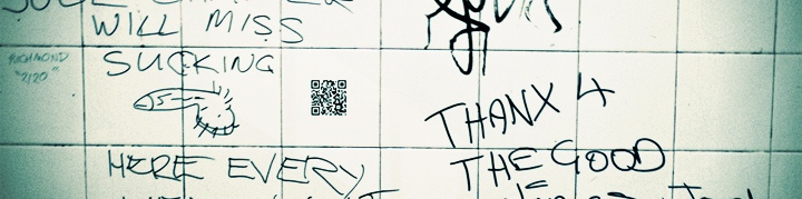 QR code on toilet wall