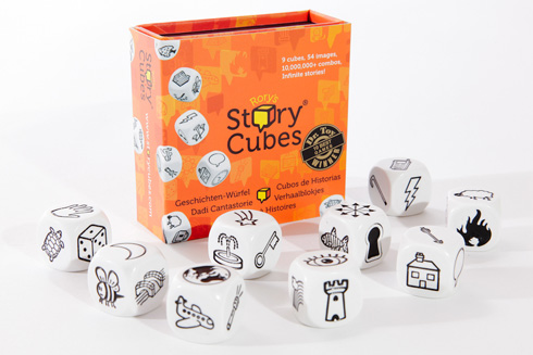 Rory's Story Cubes + Bottle of Rum = Funny Stories. (Not just for drunkards.)